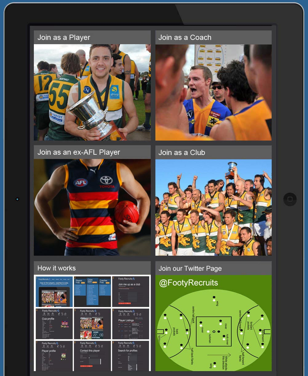 Footy Recruits - Find Aussie Rules Players, Coaches & Teams.